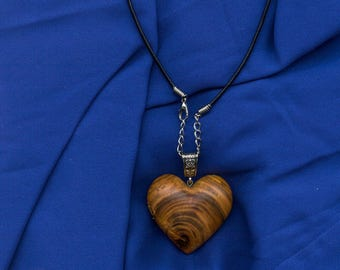 Wooden heart necklace, wooden necklace, wooden jewellery, gift for her, valentines, wooden heart pendant, made from Apricot tree wood.