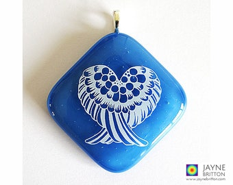 Angel Wings Pendant on blue glass, heart shape, Archangel Michael, blue and white, angel jewellery, angel jewelry, spiritual protection