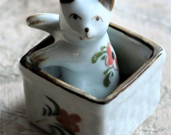 White Porcelain Cat in Box Figurine