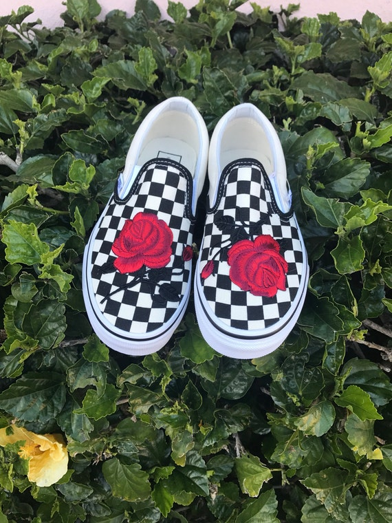 155f44d8362 Checkered Slip On Vans Rose Embroidery Shoes Sale Code 85%OFF ...