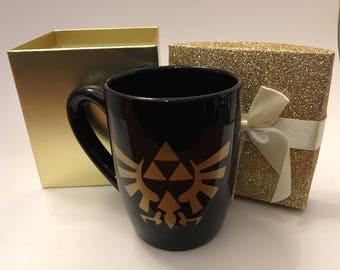 Zelda Triforce Inspired Black Mug with Gold Emblem 12 oz - Gift Box Included