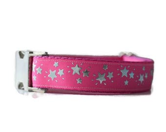Dog collars for girls, girl dog collar, pink dog collar,dog collars for medium dogs, stars dog collar, adjustable dog collar