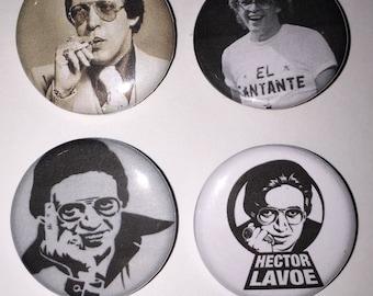 Set of 4 Hector Lavoe Buttons sized at 1.25 inches -Fania Records Salsa Latin funk Soul Disco Music Record Label - El cantante Mi gente
