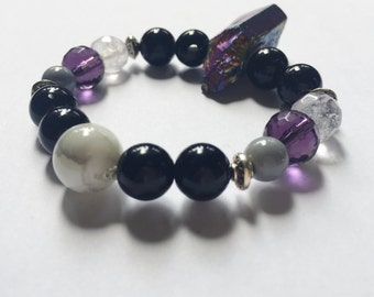 Midnight Purple Beaded Bracelet w/ Holographic Stone