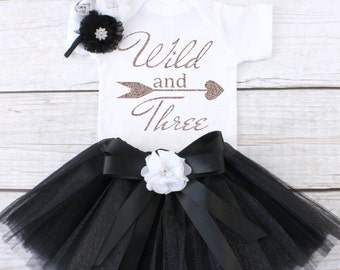 Wild and Three. Girls Birthday Tutu Outfit. Three Year Old Birthday Outfit. Birthday Outfit 3. Third Birthday Outfit. T10 3BD (BLACK)