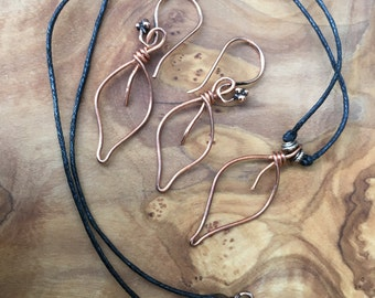 Copper Leaf Earring and Necklace Set