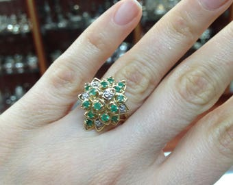 Cluster of Natural Emeralds ring, 14Karat Yellow Gold, Diamond And Emeralds Ring, Vintage Style Ring