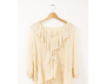 Cotton lace blouse (0061) (035) Cotton blouse Lace blouse Boho blouse Boho lace blouse Boho cotton blouse Folk blouse Folk lace blouse Boho