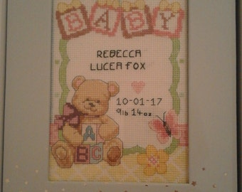 Custom made new baby cross stitch picture