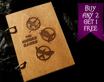 Mockingjay wooden notebook / Hunger Games notebook / sketchbook / diary / Hunger Games journal / travelbook / Hunder Games gift