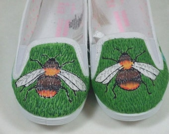 Children's hand painted pumps - bees and daisies, UK children's shoe size 6