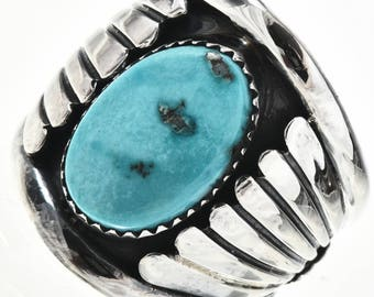 Turquoise Silver Mens Ring Handmade Navajo Sizes 9 to 13