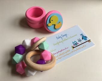 Teething bracelet Plus Fairy Tooth Box,  Babies, Teething Toy, Silicone Bracelet, untreated wood, Baby a shower GIft