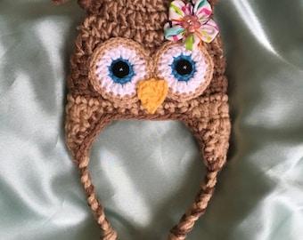 Owl baby hat. Newborn hat. Handmade hat. Crochet hat. Baby girl hat. Baby boy hat.