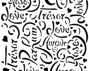 French Script Background 190 micron Mylar Stencil durable and sturdy- A5 - A4 - A3 - Free UK P & P
