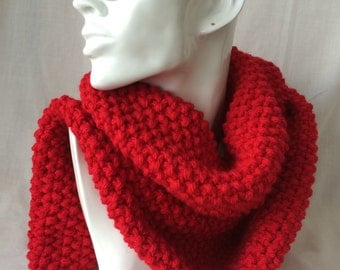 Red Winter Hand Knitted Scarf