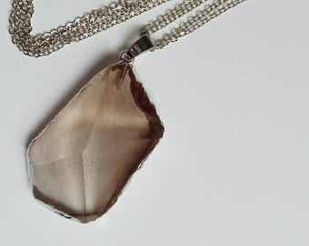Smokey Pink Crystal Necklace and Pendant