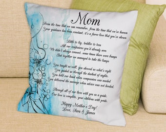 Personalized To My Mom Throw Pillow Custom Name Gift
