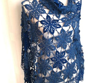 Chic lace shawl, shawl, summer scarf, crochet flowers, pareo, beach, Royal Blue scarf, or on a pair of jeans.