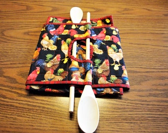Casserole Carrie, Quilted Casserole Carrier Fabric Casserole Carrier, Dual Sized Casserole Carrier, Food Tote, Roosters Hens Chicks, Country