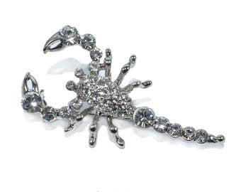 Scorpion rhinestone rhodium brooch