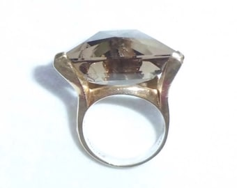 Estate 14kt Gold HEAVY Vintage Smoky Topaz Ring sz 6.25 Cocktail Dinner Ring 10.5g 3D Triangle Trillion Unusual Design Setting 14k 14 k kt