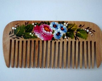 Wooden comb hair care girlfriend gift sister valentines gift for her hand painted blue flower unique gift idea romantic gift mom gift women