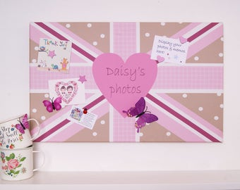 Pink Union Flag Magnetic Noticeboard