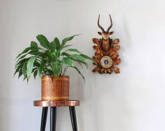 70s plastic stag, buck, deer wall hanging with barometer
