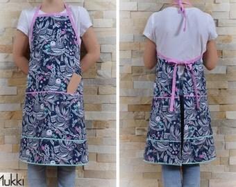 Kitchen apron for girl, apron girl, bird, gift, gift Christmas, Mukki, Mukki apron - 004T