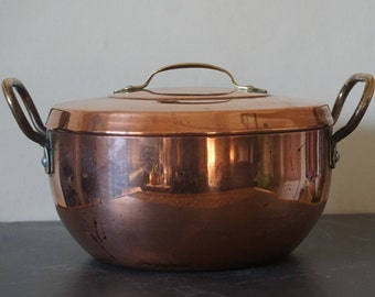 Vintage Copper Casserole with Brass Handles Tin Lined