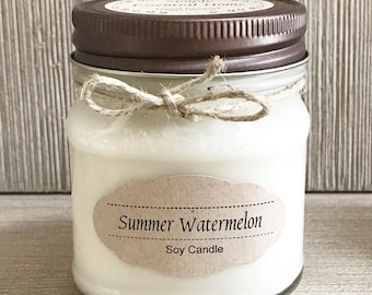 Summer Watermelon Candle / Soy Candle /  Aromatherapy Candle