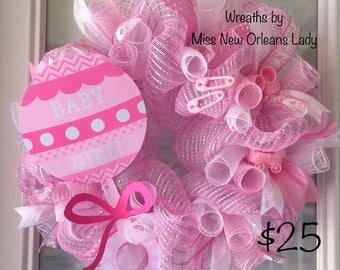 Pink deco mesh Baby Girl wreath