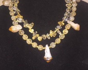 Handmade two tier clear yellow tint stone bead necklace