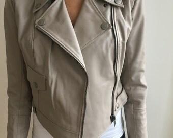 Leather Biker Jacket in Oatmeal  Small