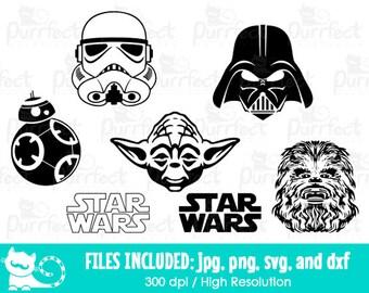 Star Wars SVG, Storm Trooper Darth Vader Yoda Chewbacca BB8 SVG, Disney Digital Cut Files in svg, dxf, png and jpg, Printable Clipart