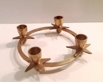 Vintage Brass Star Candelabra 4 Candle Holder