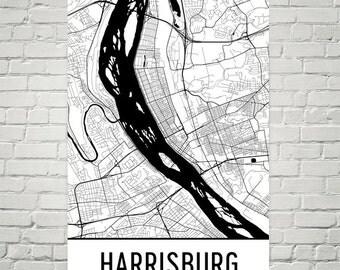 Harrisburg Map, Harrisburg PA Art, Harrisburg Print, Harrisburg PA Poster, Harrisburg Wall Art, Harrisburg Gift, Map of Harrisburg, Art