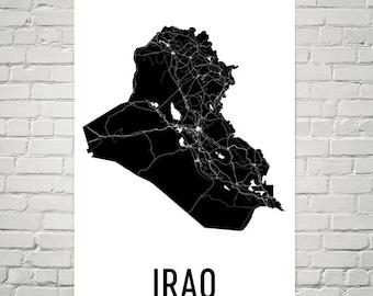 Iraq Map, Map of Iraq, Iraqi Art, Iraq Poster, Iraq Wall Art, Iraq Poster, Iraq Gifts, Iraq Decor, Iraqi, Iraq Map Art Print