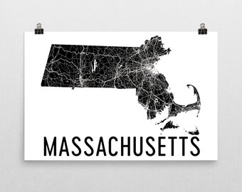 Massachusetts Wall Art, Massachusetts Map, Massachusetts Gifts, Massachusetts Print, Massachusetts Art, Decor, Poster, Map of Massachusetts