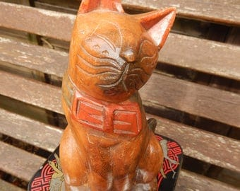 Cute Wooden Kitty Cat, Hand Carved c 1980s, Hand Painted, Wood Carved Cat, Cat with Bow,