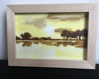 Aquarel 'Landscape', framed