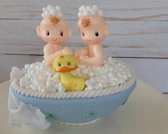 Twin baby shower. Boy twins baby shower. Baby shower cake topper. Boy  baby shower cake topper.