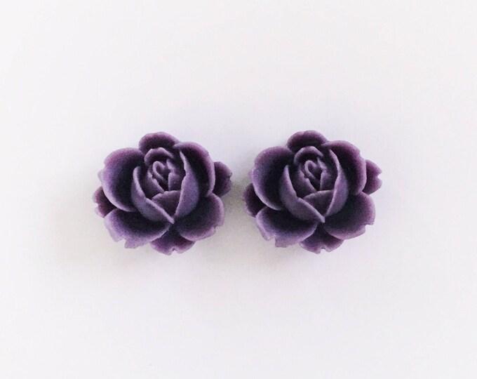 The 'Violet' Flower Earring Studs