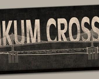"Portland Oregon Tilikum Crossing Bridge Canvas Print Sign; One 24"" x 8"" x 1.5"" Stretched Canvas"