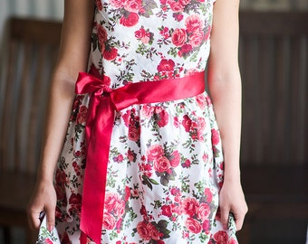 Summer dress woman Mother daughter matching dress Short sleeve dress 60s style dress Red dress Flower dress Rose dress Women dresses