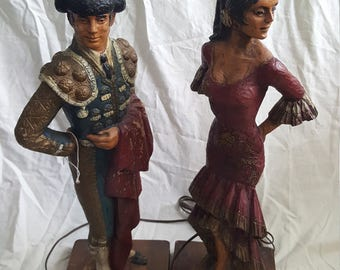 Vintage Carved Lamps engraved 1971 Dunning Flamenco Dancer and Matador