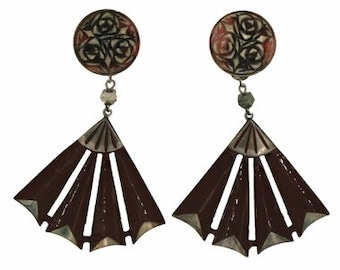 Auguste Bonaz 1920s Brown & Silver Celluloid Vintage Earrings