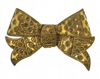 Miriam Haskell Gold Tone 1940s Vintage Bow Brooch