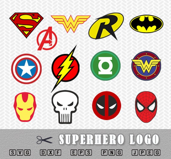 superhero logo svg dxf vector file silhouette cricut flash wonder women deadpool batman